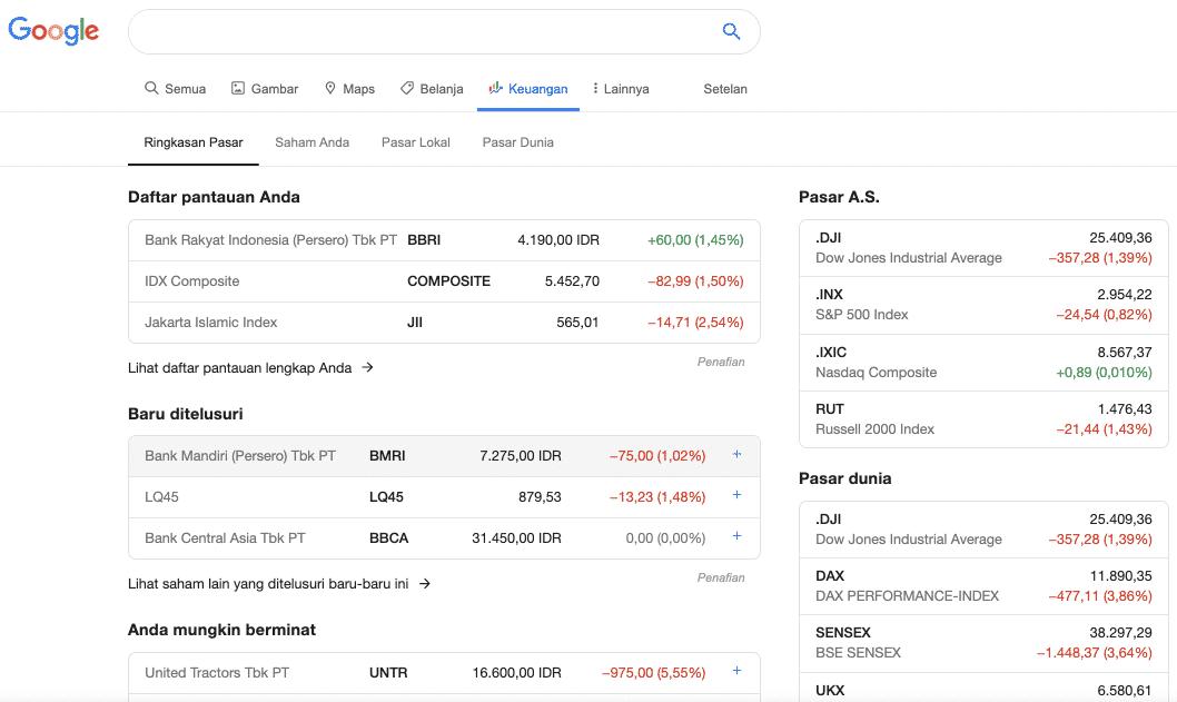 Referensi Keuangan: Google Finance
