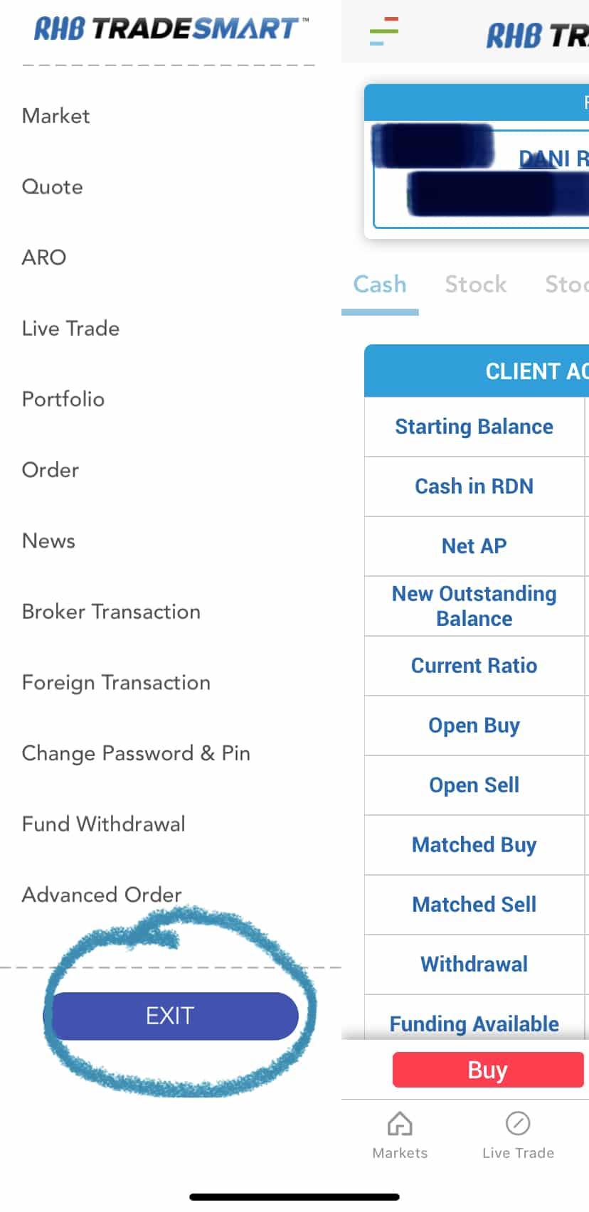 Pilihan Logout Trading Saham Online RHB TradeSmart